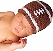 Huggalugs Baby Boys or Girls Brown or Pink Football Newborn Hand Knit Hospital Hat or Booties