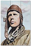 Charles Lindbergh Wood Art Print from Original Drawing & Painting by Artist Mike Bennett 24' x 36'