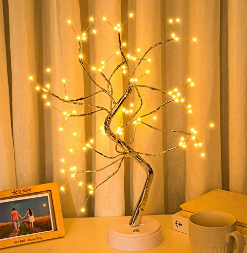 Sparkly Fairy Spirit Tree Light Lamp with 108 LED Lights, DIY Desktop Artificial Bonsai Tree Light Lamp Battery/USB Operated, for Decorate Desktop Living Room Bedroom Christmas Party (20' Warm White)