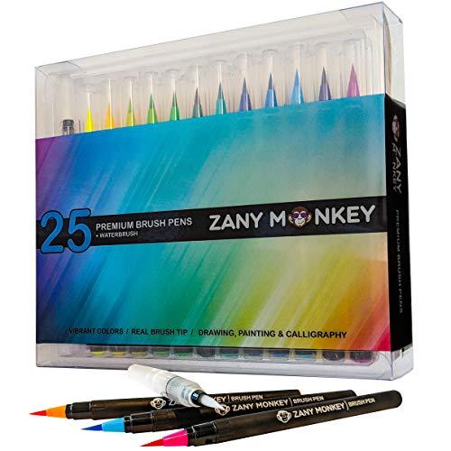 Watercolor Brush Pens – Set of 25 Water Color Brush Tip Markers for Kids & Adult Coloring Books, Painting, Drawing, Art, Calligraphy, Lettering, Journaling. Bonus Coloring Book & Water Blending Pen.