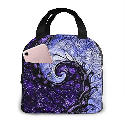 N\A Bolsa de Almuerzo Reutilizable Nocturne of Scorpio Fractal Astrology Lunch Carry Tote Bolsa Aislante Duradera para Adultos y niños