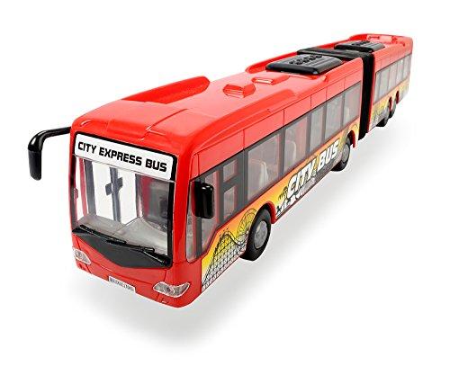 Dickie Toys City Express Bus, Gelenkbus, Spielzeugbus, Spielzeugauto, Türen zum Öffnen, 2 verschiedene Ausführungen, rot oder weiß, 46 cm (Sortiert)