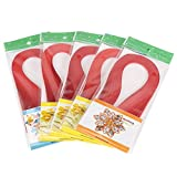 no-branded Tiras de Quilling 600 tiras de color puro de 3 x 39 cm, tiras de papel de Quilling Set de papel de bricolaje Origami Craft Paper (rojo))