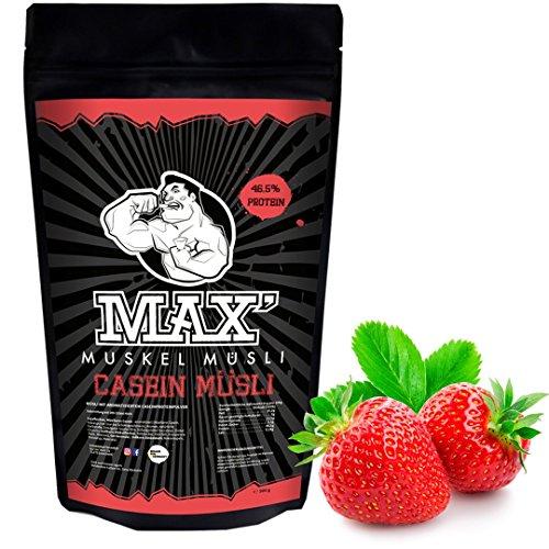 MAX MUSKEL MÜSLI Casein Low Carb Protein-Müsli ohne Zucker-Zusatz & Nüsse - wenig Kohlenhydrate viel Eiweiss Sportlernahrung für Muskelaufbau & Abnehmen und speziell für abends 500g Beutel (Erdbeere)