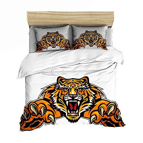 Children's Bedding Set, Cartoon Tiger donzen dekbed Cover voor Teen Boy, Single King Size tweepersoonsbed, comfortabele zachte microvezel dekbedovertrek,03,GB Single140cm×210cm