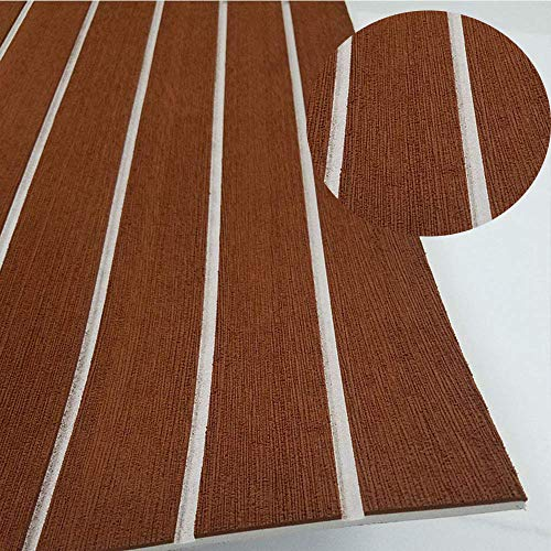 CNLZ EVA Foam Faux Teak Decking Self-Adhesive Boat Decking Sheet Marine Yacht RV Swimming Pool Boat Flooring Non-Skid mat Boat Flooring 94.5'X35.4' (Dark Brown with White Lines)
