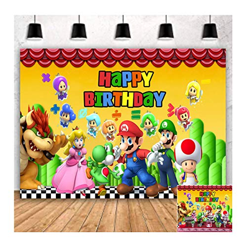 Cartoon Superman Mario Happy Birthday Theme Photogrpahy Backdrops 5x3ft Children Boys or Girl 1st Birthday Party Photo Background Newborn Baby Shower Banner Candy Cake Table Decor Studio Props Vinyl