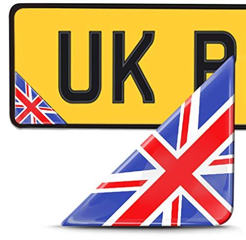 Biomar Labs 2 x 3D Pegatina Adhesivos Resinados para Placa de Matriculación Personalizadas Bandera de Reino Unido Gran Bretaña UK para Coche Moto Remolque F 142