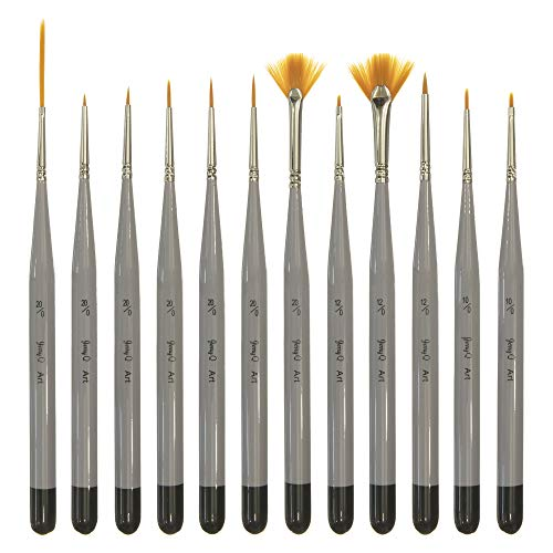 Jerry Q Art 12 Pc Miniature Paint Brushes, Golden Synthetic Hair, High Performance for All Media JQ-1501