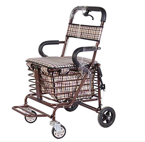 KEKEFUYUAN Transport Wheelchair,Folding Lightweight ElderlyDisabled Scooter Care Car,Grocery Shopping Trolley,B