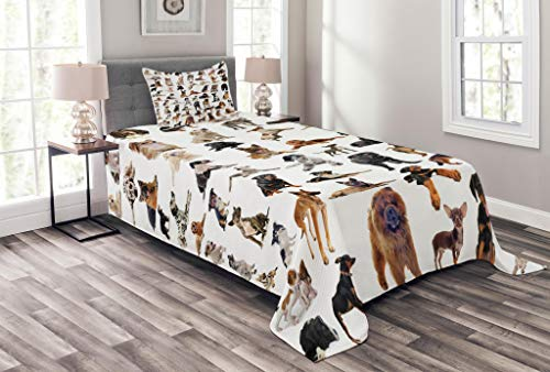 Lunarable Dog Lover Bedspread, Composite Picture with Dogs Australian Sheepdog Belgian Boxer Italian Mastiff, Decorative Quilted 2 Piece Coverlet Set with Pillow Sham, Twin Size, Brown Black
