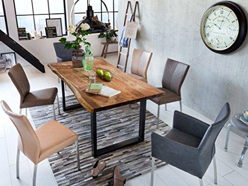 SAM Baumkantentisch 160x85 cm Queenie, nussbaumfarbig, Esszimmertisch aus Akazie, Holz-Tisch mit schwarz lackierten Beinen