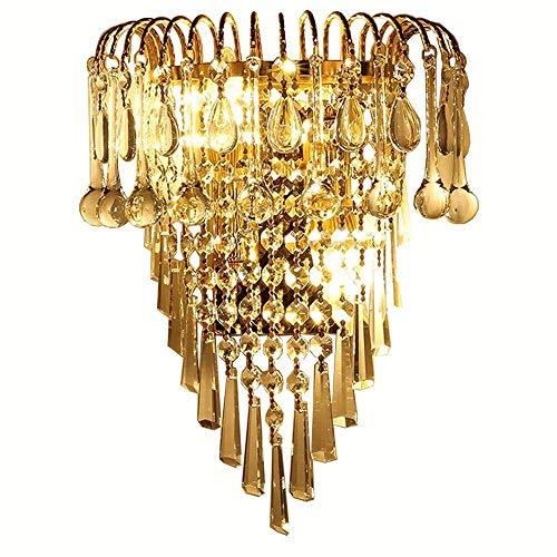 ZXJUAN Plafondlamp, kristal, slaapkamer, bedzijde, wandlampen, helder glas, hangen, gouden basis, gang, wandlampen, woonkamer, trapkast, hal, balkon, wandlampen