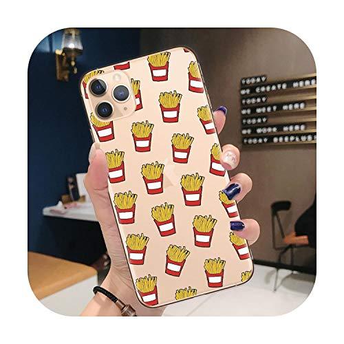 Cover per iPhone 11, motivo cartone animato, macaron, pizza, patatine, caffè, cover per telefono per iPhone 11 Pro Xr X Xs Max 8 8 Plus 7 7 7 Plus 6 6 S Plus, cover posteriore in TPU morbido, A0292-per iPhone 11Pro Max