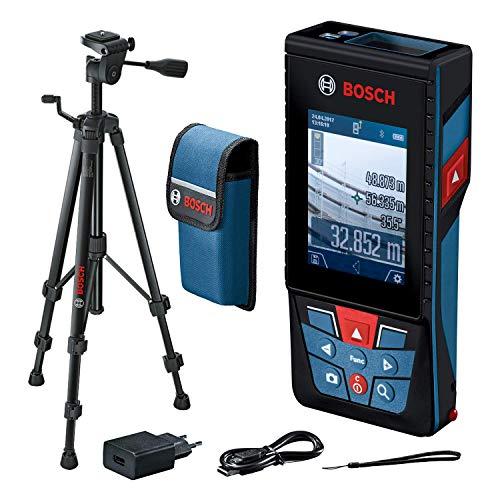 Bosch Professional Laser Entfernungsmesser GLM 120 C mit Stativ BT 150 (Kamera, Bluetooth-Datentransfer, max. Messbereich: 120 m; Stativ, Micro-USB-Kabel & Ladegerät,Trageschlaufe, Schutztasche)