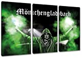 Ultras MönchengladbachBengalo, 3-Teiler Format: 120x80, Bild auf Leinwand XL, fertig gerahmt