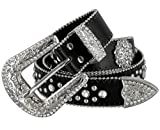 Women Rhinestone Belt Fashion Western Cowgirl Bling Studded Design Berry Concho Leather Belt 1-1/2'(38mm) wide (Black, 34'' M)