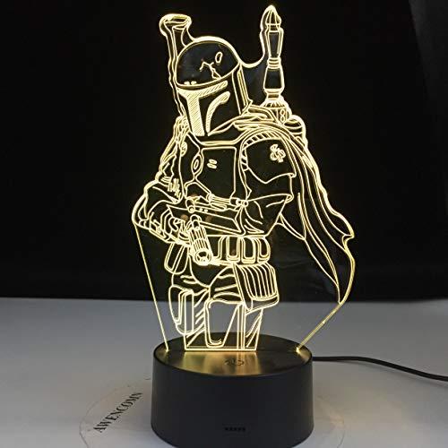 Boba Fett 3D ilusión LED luces nocturnas lámpara modelo Star Wars,regalos de Navidad de cumpleaños para niños,lámpara de escritorio para programa de televisión mandaloriana