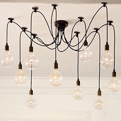 zy Bras pight moderne 8 Vintage Loft de E27 Edison Ampoule pendentif lustre pour bar restaurant, métal, noir