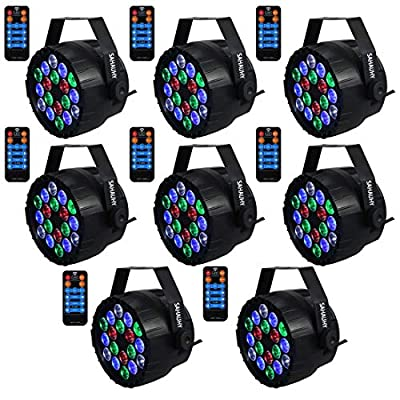 DJ Lights,SAHAUHY Professional Stage Light 8 Channels 9 Modes RGBW Mixed Effect Up Lights Sound Activated or DMX Control with Remote for Party Event Wedding Church(8Packs)
