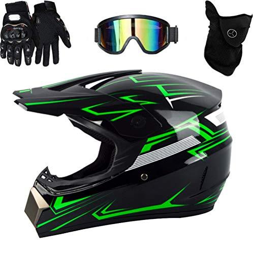 Gmuret Casco de Motocross, Conjunto de Casco Profesional Todo Terreno con protección Facial Completa, Gafas y Guantes para Adultos y niños
