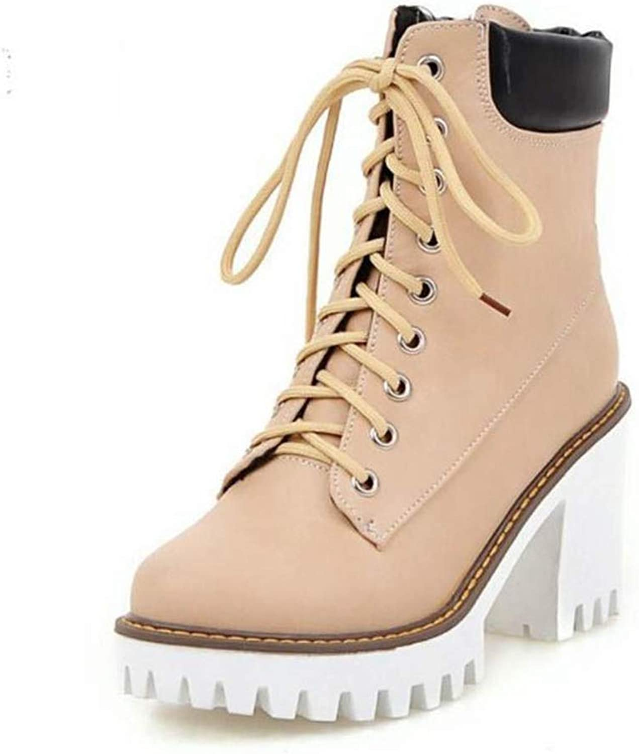 T-JULY Women's Thick Fur Boots Half Short High Heel Boots Lace Up Winter Boots Mid Calf Botas Footwears