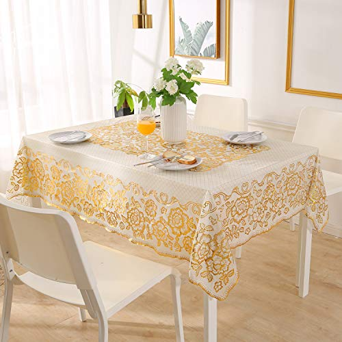 Qucover Mantel Antimanchas para Mesa Rectangular Impermeable de Plastico PVC de Hule para Cocina Comedor Modernos (Blanco y Oro)