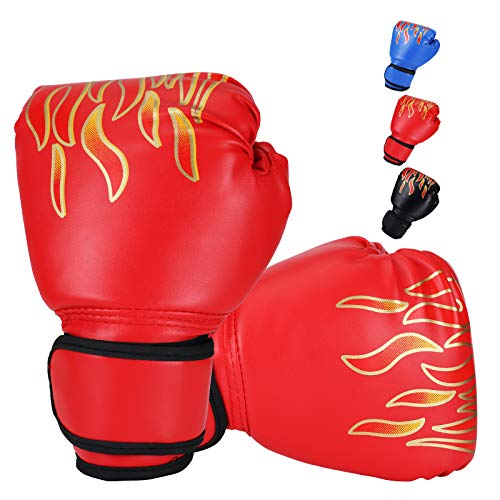 DTOWER Mini Boxing Gloves for Training, Sparring, Kickboxing & Fighting, Kids Boxing Gloves for Punching Bag Training Youth Training Gloves PU Leather Boxing Gloves for Kids, Teens, Beginners - Red