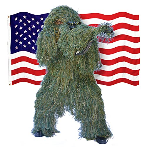 Shadow Cloak Ultimate Ghillie Suit - Woodland Camo + USA Bonus Flag -...