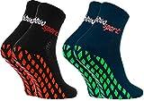 Rainbow Socks - Donna Uomo Neon Calze Sportive Antiscivolo - 2 paia - Nero Blu - Taglia 42-43
