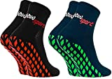 Rainbow Socks - Hombre Mujer Calcetines Antideslizantes de Deporte - 2 Pares - Negro Azul - Talla 44-46