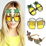 vlovelife Set von 3lustige Party Sonnenbrille Ananas + Bier + Flamingo Tropical Hawaiian Luau...