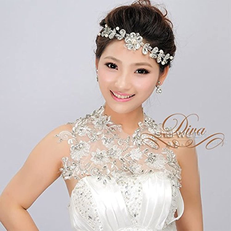 ヘッドドレス ウェディングヘッドドレス ビジュー レース ネックレス 装飾 ヘッドバンド ヘッドアクセサリー