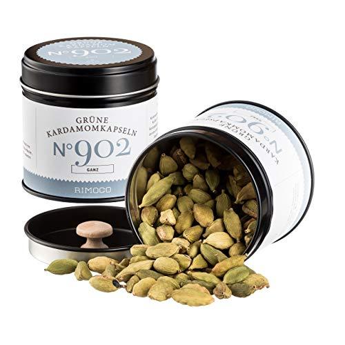 Bio Kardamom / Cardamom (grüne ganze Kardamom Kapseln / Samen) N°902   Inhalt: 40g in eleganter Gewürzdose   zertifizierte Bio Qualität   abgepackt & kontrolliert im Saarland (DE-ÖKO-022)