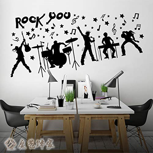 FSVGC Crazy Band Music Rock Character Wall Stickers Bar Piano Room Drum Musical Instrument Training Room Decoration Stickers