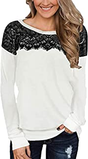 S-Fly Women's Tops O-Neck Lace Patchwork Long Sleeve Casual T-shirt Blouse