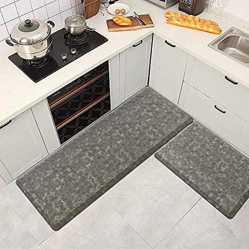 "IMYOTH Kitchen Mat Anti-Fatigue Cushioned Floor Mat Set 2 Piece 20""x30""+20""x48"" Thick Non-Slip Waterproof Kitchen Mats Ergonomic Comfort Standing Mat Rug for House, Sink, Office, Desk, Grey"