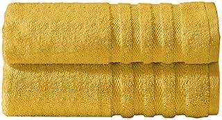 Divine Textiles - Juego de toallas (algodón egipcio, 600 g/m²), amarillo mostaza, 2 x Bath Sheets