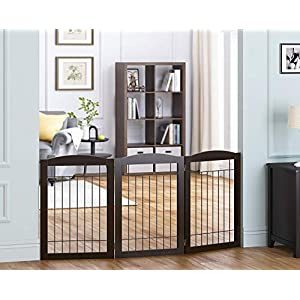 Spirich Wooden Freestanding Pet Gate for Dogs, Step Over Fence, Dog Gate for The House, Doorway, Stairs, Extra Wide Tall Pet Safety Fence