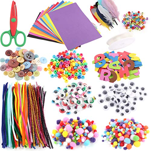 WANGYUMI Art and Craft Kit Supplies Include Pipe Cleaners Feather and Felt Foam Balls fo