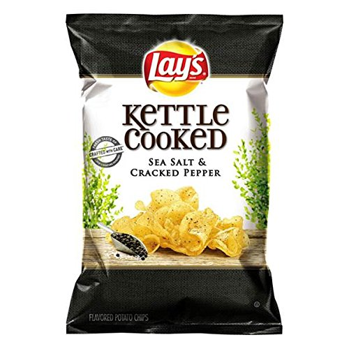 Lay's Sea Salt & Cracked Pepper Kettle Cooked Potato Chips 8oz( 2 Pack...