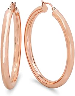 Best rose gold hoops 2 inch Reviews