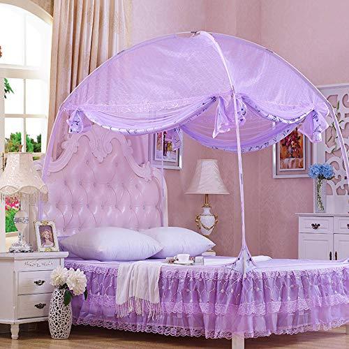 hdfj12138 MoskitonetzeDreitürige Tür mit Reißverschluss Moskitonetz Kuppel Anti-Moskito-Bett Vorhang nach Hause Jurte Moskitonetz-Duftender Traum-Lila_180 * 195 * 170 cm