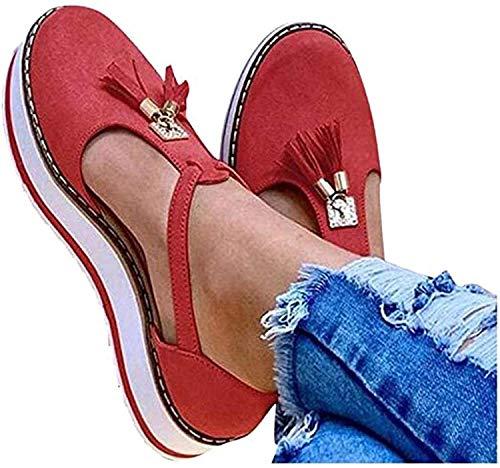 LONG-M Sandalias Planas con Punta Redonda Y Flecos para Mujer, Zapatos De Suela Gruesa con Estampado De Leopardo, Informales, para Playa,Rojo,41