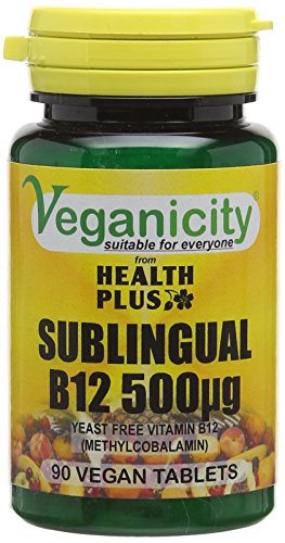 Veganicity Vitamin B12 500µg Sublingual (Methylcobalamin) : Vitamin B12 Supplement : 90 Tablets