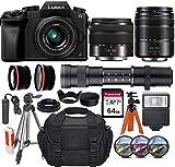 Panasonic Lumix DMC-G7 Mirrorless Micro Four Thirds Digital Camera w 14-42mm, 45-150mm & 420-800mm Lenses + Essential Accessory Bundle incl. Wide-Angle & Telephoto Conversion Lens, Gadget Bag & More