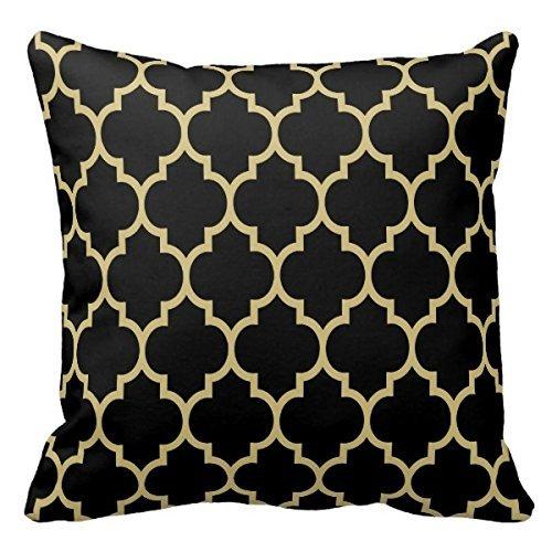 Home décoratif réversible Couvre-lit Motif Noir et Or brun clair Quatrefoil Oreillers Coussin Taie d'oreiller Cas 45,7 cm