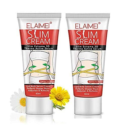 Hot Cream Slimming Cream 2 Pack,Fat Burner Body Slim Cream Massage Gel Weight Losing,Slim Cream Treatment for Shaping Waist Abdomen and Leg 60ml (2)