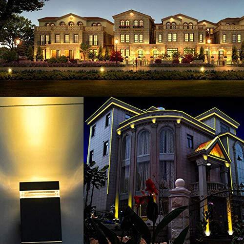 YYSDH 2020 LED Außenwandleuchte Up Down Mit GU10 LED 7/14W Warmweiß 220V - Wandleuchte Schwarz IP54 Für Garten Terrasse [Energieklasse A+],Weiß,7W