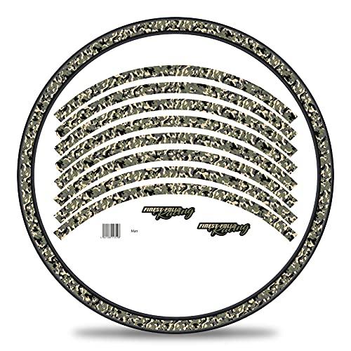 Finest Folia Juego de 16 adhesivos para llantas de bicicleta diseño de camuflaje juego completo para bicicletas de 27 a 29 pulgadas (verde, brillante)